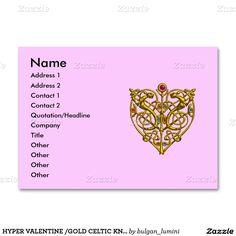 HYPER VALENTINE /GOLD CELTIC KNOT HEART JEWEL Pink Large Business Cards (Pack Of 100)