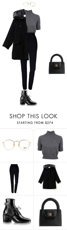 """Working"" by ludmila208-1 ❤ liked on Polyvore featuring Ray-Ban, Carven, Plakinger, Lacoste and Chanel"