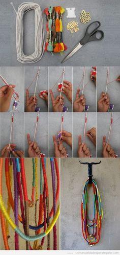 Manualidades para regalar, tutorial para hacer un collar con hilos