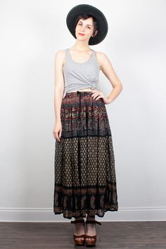 Vintage Indian Skirt Hippie Skirt Midi Skirt by ShopTwitchVintage