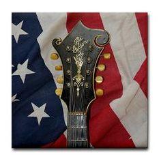 The Gibson Mandolin (Mandola) Head Stock and the American Flag Tile Coaster ($5.99)