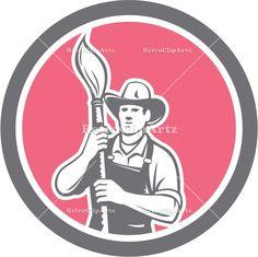artwork, brush, circle, graphic, holding, house painter, illustration, male, man, paintbrush, painter, retro, tradesman, worker