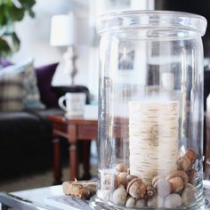 Decorating with acorns for fall.