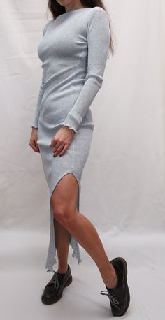 Vintage Woman Knitted Long Dress/ Elegant Dress From 90s / Woman Bodycon Dress / Sexy Ribbed Sparkle Baby Blue Dress Long Elegant Dresses, Sexy Dresses, Vintage Ladies, Vintage Woman, Baby Blue Dresses, Denim Jackets, Dress Brands, Dress Long, Sparkle