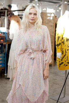 Insanely Perfect Outfits Spotted At A Vintage Fair #refinery29  http://www.refinery29.com/2014/12/79261/a-current-affair-vintage-market-street-style#slide-14  Model Delilah Parillo looks absolutely ethereal in a drapey, vintage dress.
