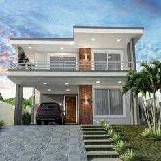 Modern House Floor Plans, Modern Exterior House Designs, Latest House Designs, Contemporary House Plans, Dream House Exterior, Cool House Designs, Two Story House Design, 2 Storey House Design, Classic House Design