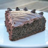Low-Fat Chocolate Cake Recipe; cake has applesauce & prune baby food; icing is made with greek yogurt