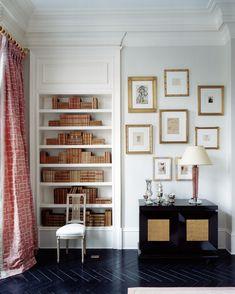 black herringbone floor from Suzanne Kasler's book 'Inspired Interiors' Decor, Interior Design Books, House, Interior, Home, Bookshelf Inspiration, Suzanne Kasler, Herringbone Floor, Interior Design
