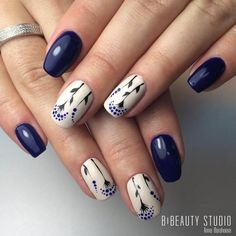 "If you're unfamiliar with nail trends and you hear the words ""coffin nails,"" what comes to mind? It's not nails with coffins drawn on them. It's long nails with a square tip, and the look has. Blue Nail Designs, Acrylic Nail Designs, Acrylic Nails, Blue Design, Leaf Design, Dark Blue Nails, Navy Nails, Blue Gel, Dark Purple"