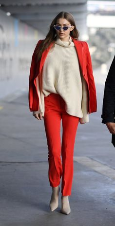February 24: Gigi hadid heading to the Versace fashion show in Milan, Italy