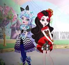 Ever After High Spring Unsprung Kitty and Lizzie and like OMG! get some yourself some pawtastic adorable cat apparel! Ever After High, Lizzie Hearts, Anime Girl Dress, Ever After Dolls, Raven Queen, After High School, Bratz Doll, High Art, Fall Halloween