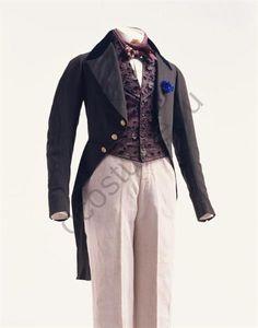 Three Piece Ensemble of dark brown tailcoat of wool broadcloth w velvet  collar, vest of black silk satin v cut-velvet woven floral pattern, ...