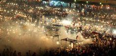 Marrakesh market square at night