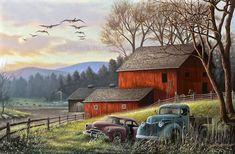"""Countryside Farm Canvas Art Print - """"Countryside Dream"""" Painting by Chuck Black Landscape Sketch, Landscape Drawings, Landscape Art, Landscape Paintings, Landscape Fabric, Landscape Architecture, Landscape Photography, Paradise Landscape, Landscape Timbers"""