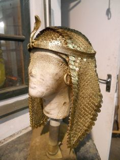 Cleopatra's head dress. Painted Sequin fabric, plastic leaves, Apoxie, Wonderflex. For The History of the World, TV series Documentary. Kristine Berg