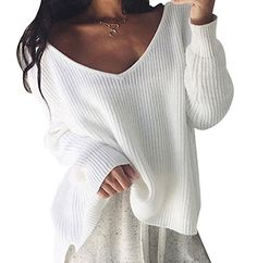 03c1f7a81224 Pull Maille Femme Pull Manches Longues Col V Ample Chaud Epais Pull  Oversize Épaules Dénudées Sweater