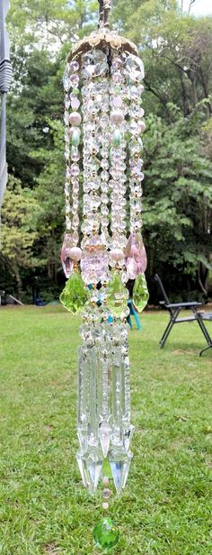 Garden Pink and Green Antique Crystal Wind Chime