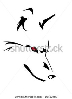 vector image of wolf's head isolated on white by Sorbis, via ShutterStock