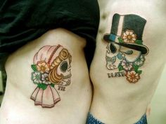 His and Hers Sugar Skulls - create a profile on talesofthetatt.com, show off your tattoo's and tell your stories. Or network with other tattoo enthusiasts without limitations or big brother bs!