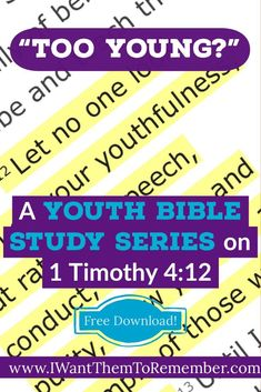 Teenagers are not too young to make a difference for Christ. This free Youth Bible Study Series on 1 Timothy encourages youth to be an example. Youth Bible Study Lessons, Youth Ministry Lessons, Youth Sermons, Youth Group Lessons, Small Group Bible Studies, Bible Study For Kids, Object Lessons, Teen Bible Studies, Children Ministry