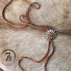 - Bolo tie style concho and leather neckace - Silver and dark brown engraved…