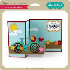 Box card that pops out when opened with bicycle Lori Whitlock SVG Shop