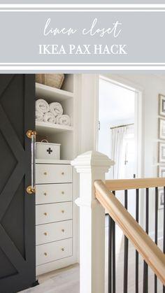 Ikea Pax Doors, Ikea Pax Closet, Closet Hacks, Closet Organization, Organizing, Walk In Closet Small, Small Linen Closets, Bathroom Linen Closet, Master Bathroom