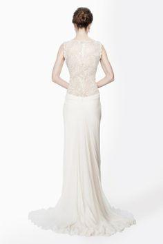 Beaded Crinkle Chiffon Gown in Cream - Bridal Suite - Wedding | Tadashi Shoji