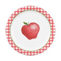 Apple Birthday Parties, Birthday Party Themes, Party Plates, Party Tableware, Holiday Cards, Christmas Cards, Birthday Plate, Cake Servings, Christmas Card Holders