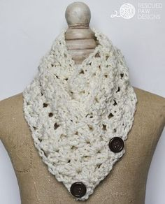 """Make this Free crochet pattern today with this tutorial. The """"Victoria"""" Button Crochet Scarf Pattern from Rescued Paw Designs via Rescued Paw Designs - Free Crochet Patterns & Tutorials Chunky Crochet, Crochet Beanie, Crochet Shawl, Free Crochet, Simple Crochet, Knit Cowl, Hand Crochet, Crochet Granny, Crochet Scarves"""