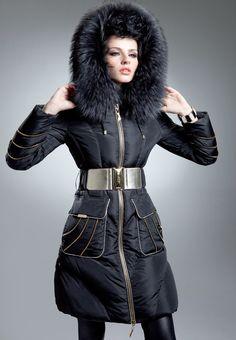 Italian Fur Designers   ... fur collar brief down coat //winter coat/winter jacket,Italian design