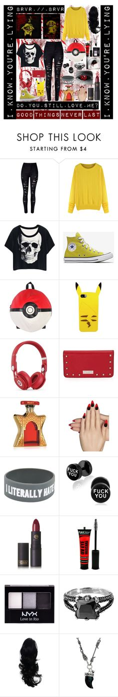 """BRVR"" by laughingjacksdaughter ❤ liked on Polyvore featuring WithChic, Nintendo, Beats by Dr. Dre, Henri Bendel, Bond No. 9, Static Nails, Lipstick Queen, NYX, West Coast Jewelry and Vivienne Westwood"