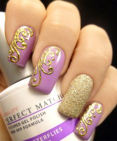 Cool Nail with Hand Drawn Foiled Design