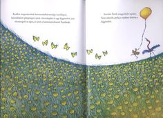 Children's book layout with birds and butterflies and a balloon.