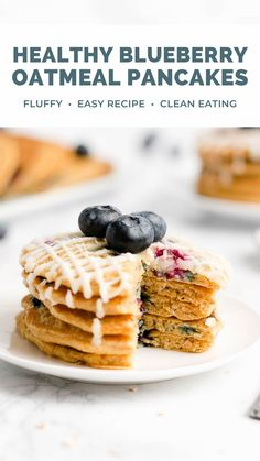 These healthy homemade blueberry pancakes are fluffy & simple to make! Greek yogurt gives these blueberry oatmeal pancakes the BEST texture. This easy recipe is clean eating, low calorie, and made with no refined sugar. Such a great breakfast! #healthy #pancakes #breakfastrecipes Chicken Breast Recipes Healthy, Healthy Breakfast Recipes, Healthy Baking, Healthy Desserts, Breakfast Ideas, Blueberry Oatmeal Pancakes, Oatmeal Pancakes Easy, Blueberry Breakfast, Homemade Oatmeal