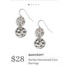 **** Loving this perfect pair of sterling silver hammered coin earrings.  Can go with anything from jeans to work attire.  Stitch Fix Fall, Stitch Fix Spring 2016 2017. Stitch Fix Fall Spring fashion. #StitchFix #Affiliate #StitchFixInfluencer