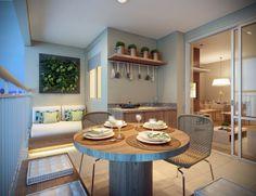 Nos apartamentos de 67 m² existe um terraço grill integrado ao living e à cozinha.