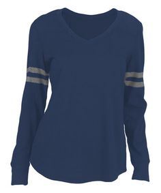 This Navy Stripe Football Tee - Women by Soffe is perfect! #zulilyfinds