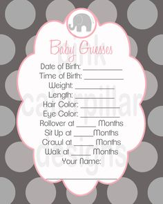Have each guest fill one out at the baby shower and then place each in a little box to take to the hospital and keep in the baby's room and when each milestone is met call who ever guesses correct and let them know.