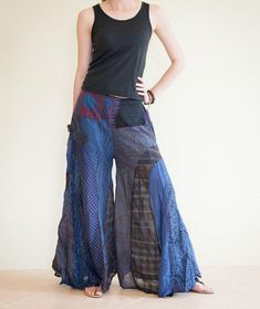 Unique Patchwork Butterfly Wide Leg Women's Pants Light Weight Printed Cotton Elastic Waist Gypsy Hippie Boho Crinkle from AmazingThaiStore on Etsy.
