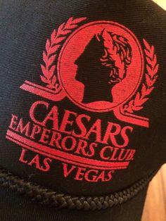 Vintage Caesars Emperor Club Black Snapback Hat Las Vegas Red Black  d96e871f5d9