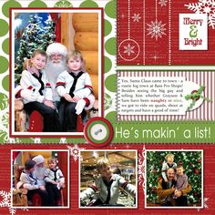 """Darling """"He's makin' a list!"""" Christmas Scrapbooking Page...Noreen Smith - Sharing Memories Scrapbooking: December 2012."""