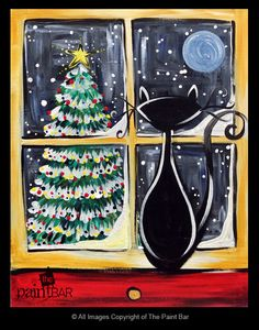 Cozy Christmas Cat Painting - Jackie Schon, The Paint Bar