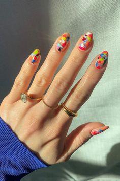 Nail Design Glitter, Nail Design Spring, Almond Acrylic Nails, Best Acrylic Nails, Multicolored Nails, Colorful Nail Art, Hippie Nails, Kawaii Nails, Funky Nails
