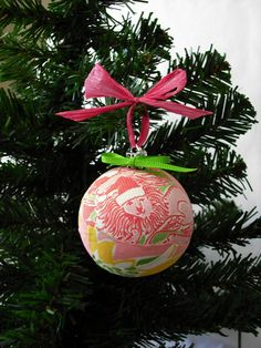 Christmas Holiday Ornament Handmade with Lilly Pulitzer Santa Lions Fabric #lillyholiday