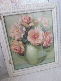Pink Roses Print by Lavrillier Gesso Wood Frame by PerfectPieLady, $112.00