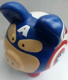 Captain America Large Ceramic Piggy Bank