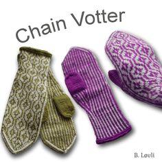Flotte mønstervotter strikket i garnet sterk fra DSA. Pinner nr. 3 Til disse trenger du 1 nøste av hver farge Vottene passer til normal damehånd og de er lange og sitter godt på hånden.…