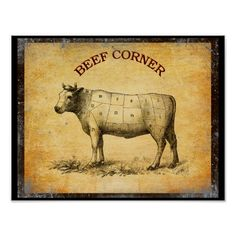 vintage beef chart with numbered cuts poster