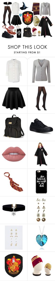 """""""gryffindor uniform"""" by ronnie-555 on Polyvore featuring Dorothy Perkins, Pure Collection, LE3NO, Wolford, Victoria's Secret, Converse, Lime Crime, Warner Bros. and Torrid"""